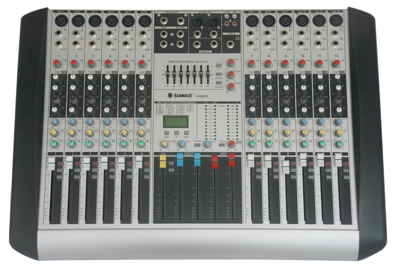 [The goods stop production and no stock]Summuz/Morima 1202CX professional 12-channel DSP digital effect two-marshalling 7-segment balanced mixer