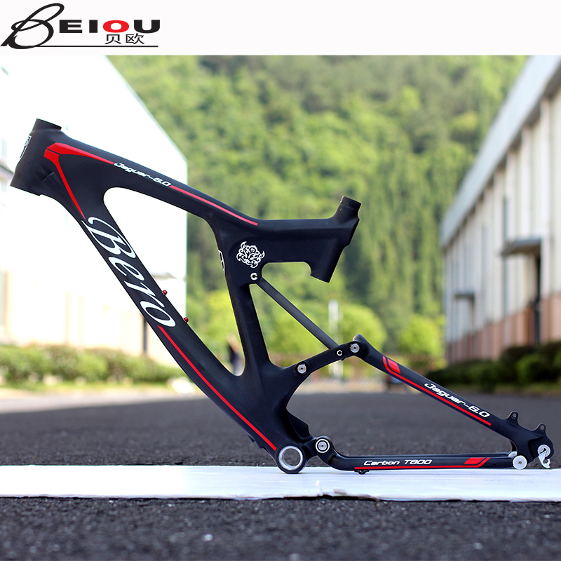 Beiou light carbon fiber mountain bike frame downhill soft tail off-road suspension bicycle frame 26 inch 27.5 inch DH