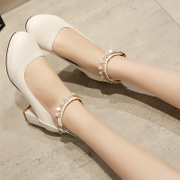 The new version of spring shoes, with shallow mouth rough heels waterproof high-heeled shoes all-match female shoes shoes.
