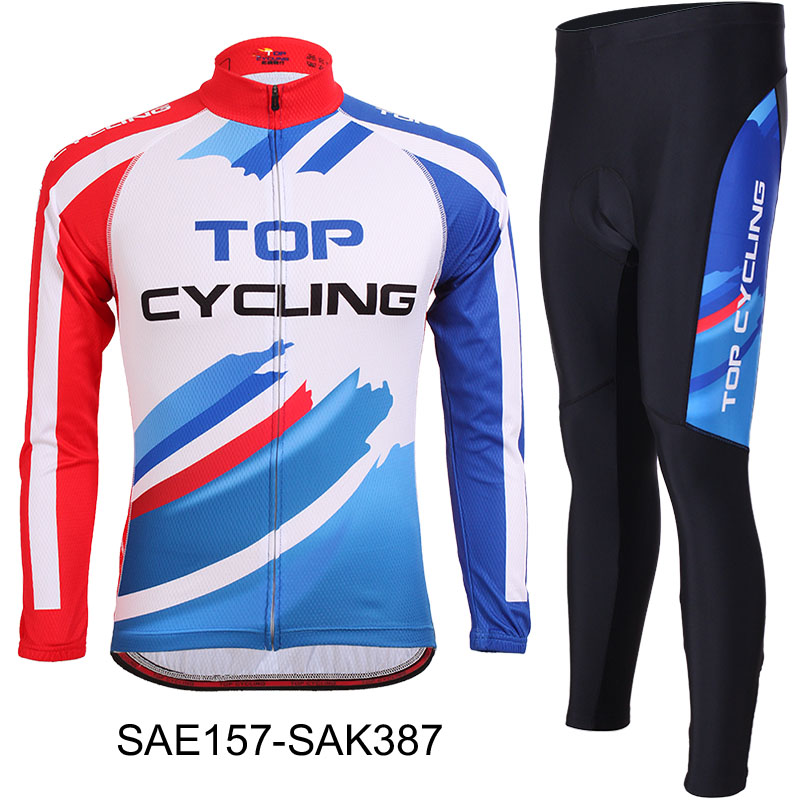 TOPCYCLING long-sleeved Jersey suits for men and women spring and summer silicone mats with large size cycling pants bicycle
