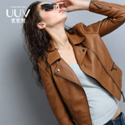 2017 new spring and autumn Pu female short Slim small leather coat thin leather jacket all-match locomotive spring tide