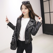 In the spring of 2017 new Korean students female short leather motorcycle jacket black leather jacket coat all-match thin Pu