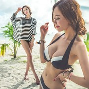Korean steel support gather three pieces of black and white stripe chest bikinis beach blouse cover belly thin female swimsuit