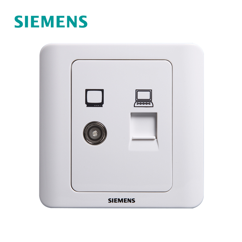 Siemens Television Computer Socket Panel Perspective Yabai Cable Closed Circuit Television Network Video Two-in-One Socket Authentic