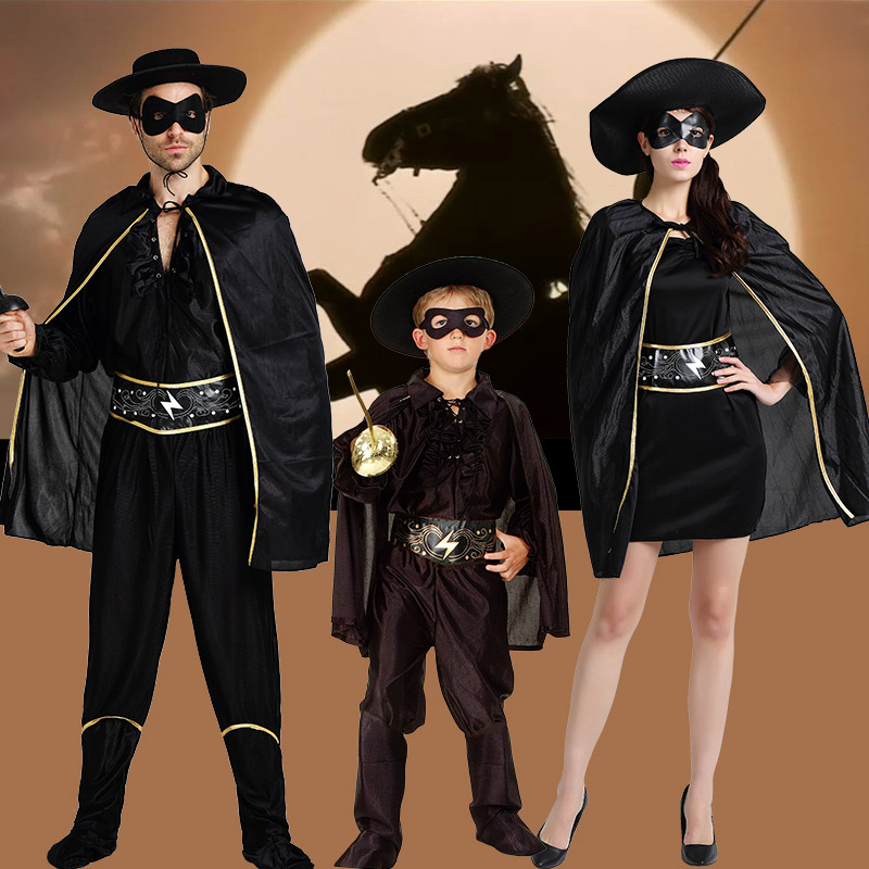 Cosplay Clothes,Halloween Clothes,Halloween Costumes Adult Couples Parenting Children Men and Women Masquerade Cosplay Zorro Costumes