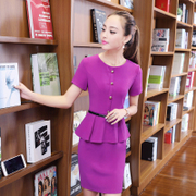 Korean fashion false two short sleeved dress hem umbrella skirt slit after jewelry shop work clothes