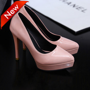 High heel shoes high-heeled shoes ultra simple fine documentary shallow mouth waterproof Taiwan red wedding shoes leather small code