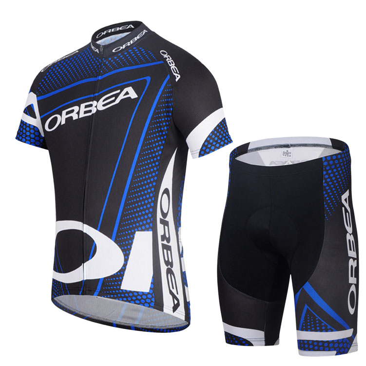 Short-sleeved Men's Suit Cycling Wear, Summer Sweat-proof Cycling Shirt, Stretch Lycra Shorts 68 Orbea Black and Blue