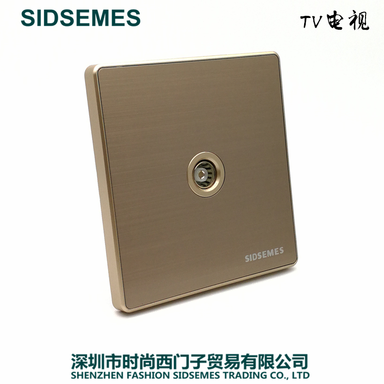 International Electrician 86 Wall Closed Circuit Television with Stainless Steel Wire-drawn Gray Champagne Gold Switch Socket Panel