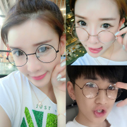 Korean tide round metal flat glasses frame retro female spectacle frame Mens glasses frame glasses