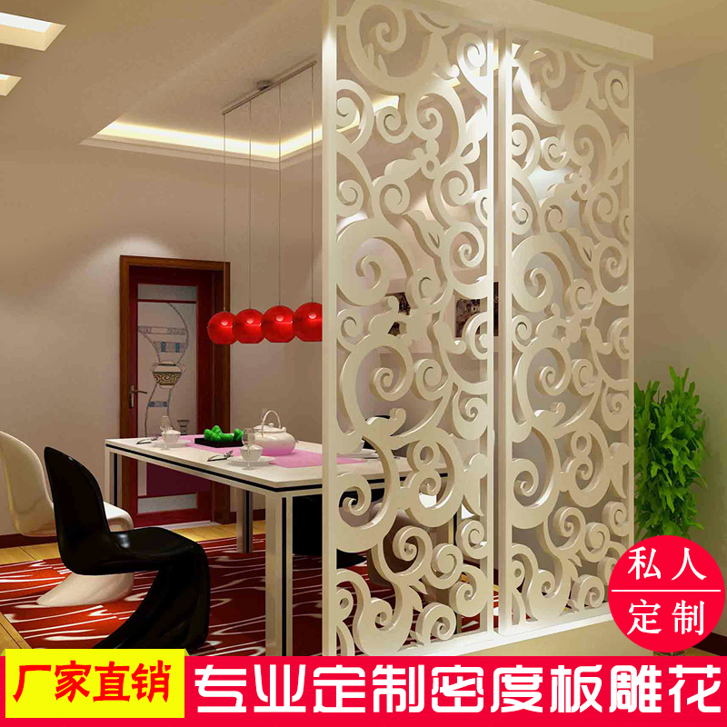 Dongyang woodcarving hollow carving board density board carving through plaid background wall porch partition screen
