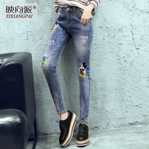 Reflecting autumn new Korean BF wind slim slimming Mickey Mouse print Street feet jeans womens casual pants