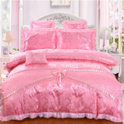 Korean embroidery quilt, wedding wedding four sets of newly married big red lace sheets, bed cover, 1.8m bedding