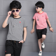 Children with 2017 new 3 boys summer suit 5 summer 6 8 9 Korean short sleeved clothes tide 10 years old 11-13 years of age
