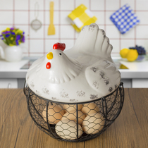Ceramic egg basket fruit basket garlic potato hybrid blue ceramic kitchen decoration creative hen storage iron basket