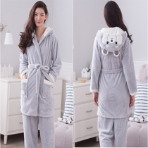 Winter women coral fleece grey robe padded long clothing Flannel Bathrobe tie Pajamas two piece suit