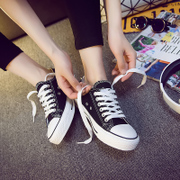 Spring low black canvas shoes all-match white shoes white flat shoes female student s casual shoes