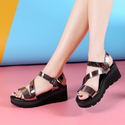 Ailiniao wedge sandals female leisure summer 2017 thick bottom toe shoes buckle fashion sandals a muffin
