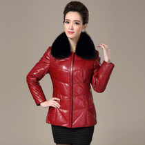Haining leather leather clothing female short fox fur collar down jacket middle-aged mother dress plus size skinny leather jacket