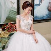Wedding dress 2017 new style of the Korean version of the bride's shoulder slim slim V collar Lace Wedding