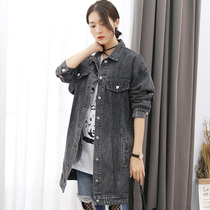 Spring 2017 new denim jacket female long students loose Korean BF style bat Sleeve plus size jeans left bank of Chao