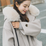 The little girl winter wool coat Cape Horn Button woolen coat, the long winter of Korean Students