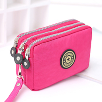 <br> <br> english-Large capacity of women's cross-section mobile phone bag three-layer zipper short section of hand-held wallet plus cotton coin purse