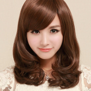 Real hair wigs long curly hair wavy hair female short curly hair fluffy oblique bangs long hair pear lifelike Ms.