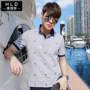 The 2017 summer men's short sleeved T-shirt shirt lapel collar V Polo Shirt Mens Shirt Korean fashion T-shirt dress