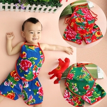 Vintage cotton summer 2017 new attractive enclosure belly baby belly Pajamas for girls and boys children folk songs played