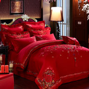 Yamu Cotton Satin Embroidery big red wedding wedding wedding Liubashiduo Four Piece Bedding Sets
