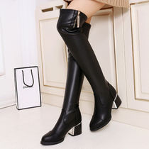 Europe and the United States 2016 autumn and winter models knee boots stovepipe stretch boots female rough with round sexy high-heeled boots boots wave