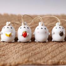 Mignon petites oreilles de bande dessinée lapin tête en céramique vent carillon ornements ont amour cadeau à la main maison pendentif maison