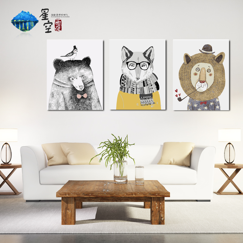 Diy Digital Oil Painting Triple Parquet Living Room Cartoon Animation Nordic Hand-painted Decompression Hand-painted Decorative Painting