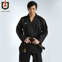Xuan DAO black Taekwondo Master Clothing striped Taekwondo Road clothing black Taekwondo Clothing