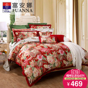 Fuanna bedding Cotton wedding bedding red four set cotton 4 piece bright dew fragrance