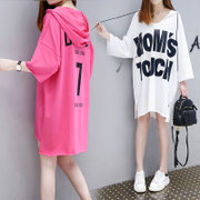 Europe new letter printing thin fashion loose in the long thin Hoodie T-shirt dress tide