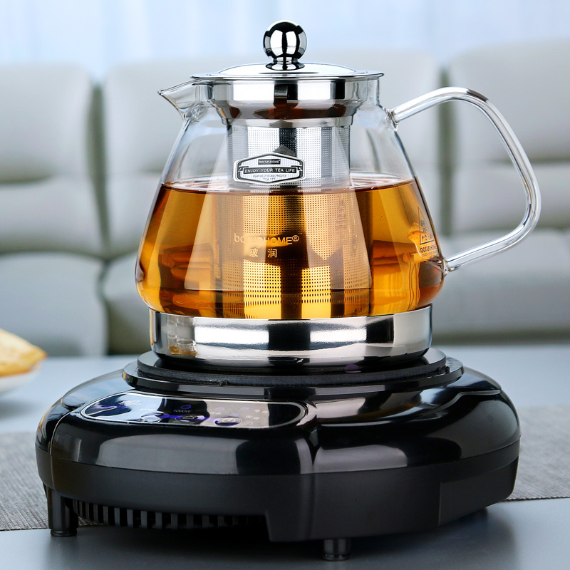 Glass teapot induction cooker heating boiled black and white tea transparent heat-resistant thick stainless steel filter teapot tea set