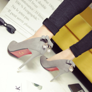 2017 new spring and autumn 10cm heels fine documentary shoes after Black Bow Shoes nightclub sexy