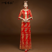 The bride toast clothing cheongsam show 2017 new Chinese style wedding dress suit Wo long red wedding bride wedding gown