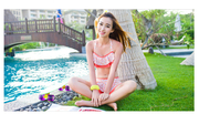 The big yellow color island of lotus leaf edge fashion split three shell leakage in wind in summer a navel bikinis