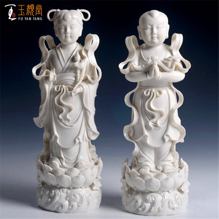 Golden Dragon Girl Golden Girl Jade Girl Buddha Hall Articles Ceramic Guanyin Buddha Statue Porcelain Arrangements Chinese White 14 inches