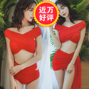 Sexy red waisted bikinis size chest bikini three piece Korean fan beach split swimsuit woman without a ring