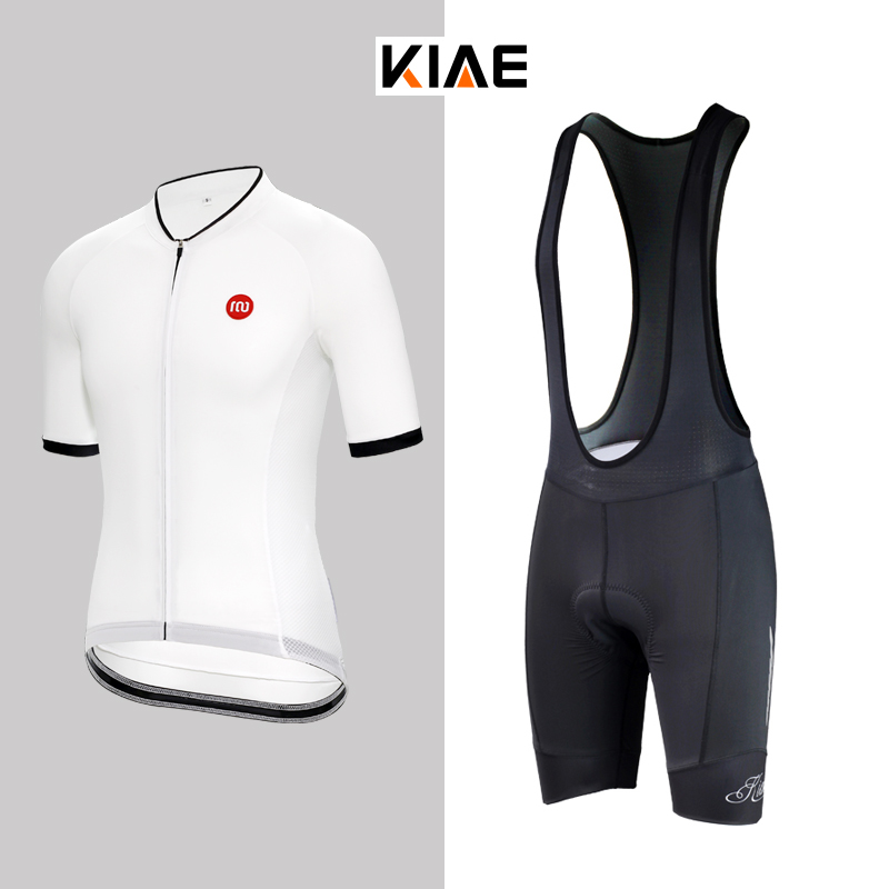 KIAE Summer Simple Black-and-White Road Mountain Bike Riding Suit Simple Retro Short-sleeved Top and Belt Trousers