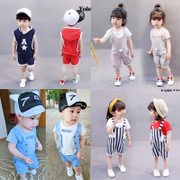 Children wear short sleeved suit female baby boy summer T-shirt shorts suit children aged 1-2-3-4-5 tide