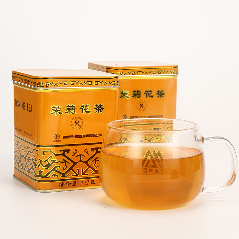 Chinese Tea Butterfly Fujian Flower Tea 1032 Jasmine Flower Tea Class I Canned Bulk Tea 227g