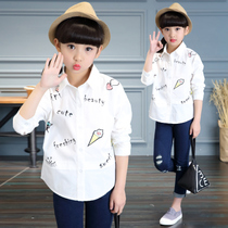 2017 new children childrens wear white cotton lined boys casual collar shirt fashion girls tide 10 11