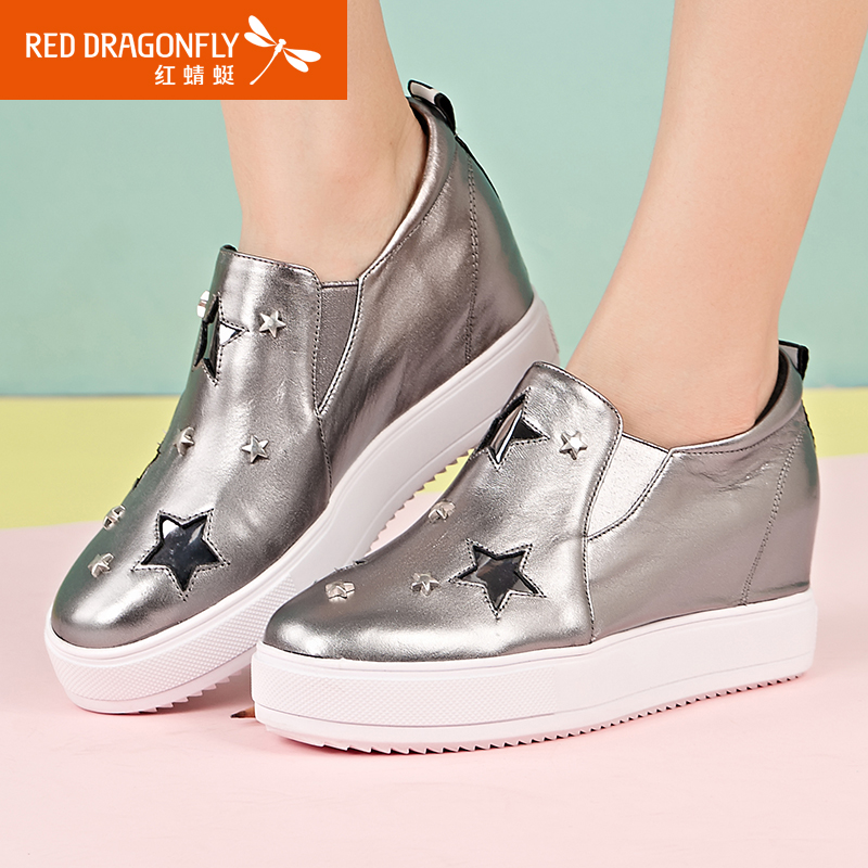 Red 蜻蜓 leather women's shoes new authentic fashion casual comfortable rivet stars increase thick platform women's shoes