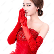 Bride wedding wedding accessories Winter Gloves Clubman elbow red dress gloves to married female accessories