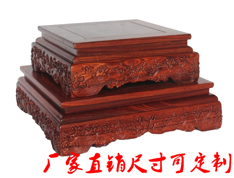 Rosewood carved vase base ebony rectangular stone bonsai decoration Buddha statue base heightened customizable package